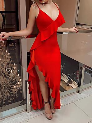 cheap Bridesmaid Dresses-Sheath / Column Sexy Red Engagement Formal Evening Dress V Neck Sleeveless Asymmetrical Chiffon with Ruffles 2020