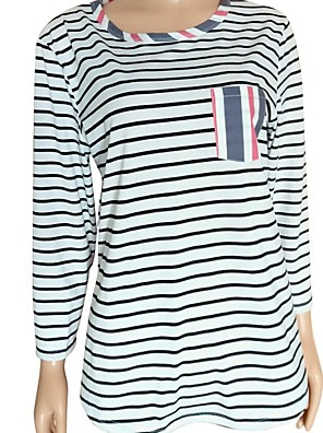 cheap Women's Blouses & Shirts-Women's Blouse Striped Patchwork Round Neck Tops Loose Basic Spring Fall Blue