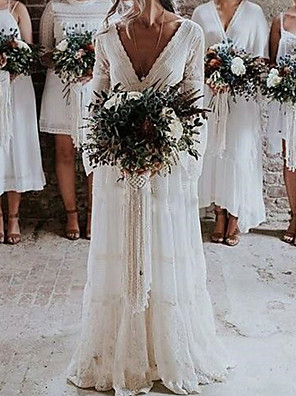 cheap Wedding Dresses-A-Line Wedding Dresses V Neck Floor Length Lace Long Sleeve Country Sexy See-Through with Lace 2020