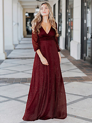 cheap Romantic Lace Dresses-A-Line Sexy Formal Evening Dress Plunging Neck Long Sleeve Floor Length Spandex Polyester with 2020