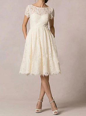 cheap Wedding Dresses-A-Line Wedding Dresses Jewel Neck Knee Length Lace Short Sleeve Casual Little White Dress Plus Size with Embroidery 2020
