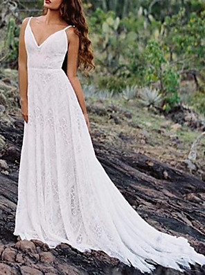 cheap Wedding Dresses-A-Line Wedding Dresses Spaghetti Strap Sweep / Brush Train Lace Sleeveless Beach Vintage Sexy Wedding Dress in Color Backless with Pleats 2020