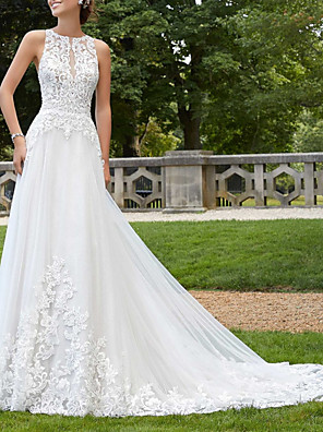 cheap Wedding Dresses-A-Line Wedding Dresses Jewel Neck Court Train Lace Tulle Sleeveless Sexy Backless with Embroidery 2020
