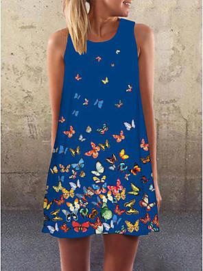 cheap Summer Dresses-Women's A-Line Dress Short Mini Dress - Sleeveless Print Summer Casual Mumu 2020 Blue Red S M L XL XXL XXXL