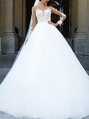 cheap Wedding Dresses-Ball Gown A-Line Wedding Dresses Jewel Neck Sweep / Brush Train Lace Tulle Long Sleeve Formal Sexy See-Through Backless with Embroidery Appliques 2020