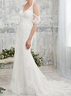 cheap Wedding Dresses-Mermaid / Trumpet Wedding Dresses Halter Neck Court Train Lace Tulle Half Sleeve Sexy Backless Illusion Sleeve with Embroidery 2020