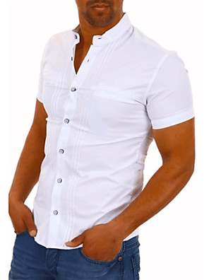 cheap Men's Shirts-Men's Solid Colored Shirt Daily White / Black / Short Sleeve