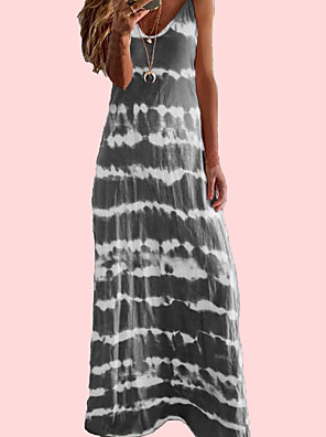 cheap Maxi Dresses-Women's Sundress Dress - Sleeveless Print Summer Boho Sexy Holiday Going out 2020 Wine Blue Purple Blushing Pink Khaki Green Dusty Blue Gray Light Blue S M L