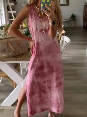 cheap Summer Dresses-Women's T Shirt Dress Maxi long Dress - Sleeveless Color Block Tie Dye Split Summer Elegant Holiday 2020 Black Blue Red Green Light Green S M L XL XXL XXXL