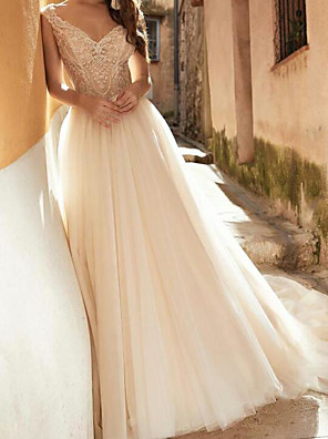 cheap Wedding Dresses-A-Line Wedding Dresses V Neck Court Train Lace Tulle Sleeveless Sexy See-Through with Embroidery 2020
