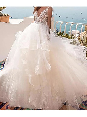 cheap Wedding Dresses-Ball Gown Wedding Dresses V Neck Sweep / Brush Train Lace Tulle Sleeveless Country Sexy See-Through with Cascading Ruffles 2020