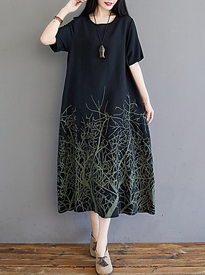 cheap Casual Dresses-Women's A Line Dress - Half Sleeve Geometric Summer Street chic 2020 White Black M L XL XXL