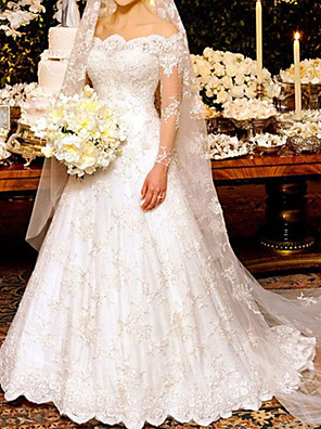 cheap Wedding Dresses-A-Line Wedding Dresses Off Shoulder Sweep / Brush Train Lace Long Sleeve Formal Sexy Illusion Sleeve with Embroidery 2020