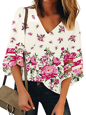 cheap Women's Blouses & Shirts-Women's T-shirt Floral Print V Neck Tops Loose Blushing Pink