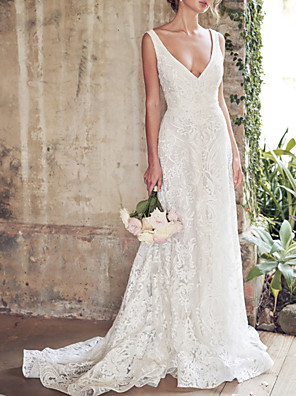 cheap Wedding Dresses-A-Line Wedding Dresses V Neck Chapel Train Lace Sleeveless Country Sexy Wedding Dress in Color with Lace Insert Appliques 2020