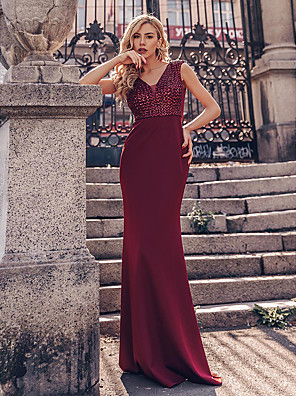 cheap Evening Dresses-Mermaid / Trumpet Vintage Red Engagement Formal Evening Dress Plunging Neck Short Sleeve Floor Length Polyester with Sequin 2020