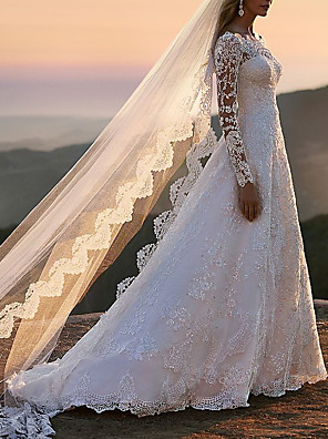 cheap Prom Dresses-A-Line Wedding Dresses Off Shoulder Sweep / Brush Train Lace Tulle Long Sleeve Romantic See-Through with Beading 2020