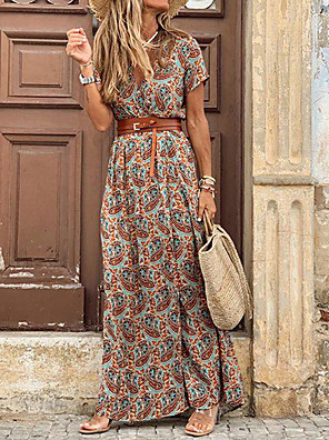 cheap Print Dresses-Women's Maxi long Dress - Short Sleeves Paisley Print Summer V Neck Casual Holiday Vacation 2020 Brown S M L XL XXL XXXL