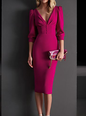 cheap Mother of the Bride Dresses-Sheath / Column Mother of the Bride Dress Elegant V Neck Knee Length Satin 3/4 Length Sleeve with Buttons 2020