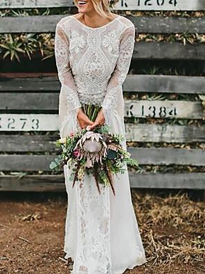 cheap Wedding Dresses-A-Line Wedding Dresses Jewel Neck Sweep / Brush Train Chiffon Lace Long Sleeve Beach Boho Sexy with 2020