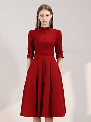 cheap Homecoming Dresses-Back To School A-Line Reformation Amante Minimalist Homecoming Cocktail Party Dress High Neck Half Sleeve Knee Length Spandex with Sleek Buttons 2020 Hoco Dress