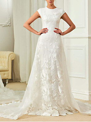 cheap Wedding Dresses-A-Line Wedding Dresses Jewel Neck Sweep / Brush Train Detachable Lace Organza Satin Cap Sleeve Simple with Embroidery Appliques 2020