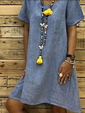 cheap Women's Blouses & Shirts-Women's A-Line Dress Knee Length Dress - Short Sleeves Solid Color Summer Work 2020 White Blushing Pink Orange Khaki Gray S M L XL XXL XXXL XXXXL XXXXXL