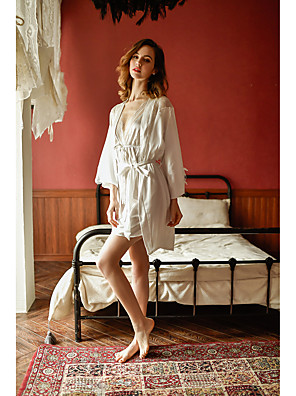 cheap Suits-Women's Lace Cut Out Mesh Robes Suits Nightwear Jacquard Solid Colored White / Black / Red One-Size