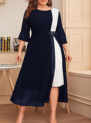 cheap Plus Size Dresses-Women's Plus Size A-Line Dress Midi Dress - 3/4 Length Sleeve Color Block Summer Casual 2020 Wine Black Navy Blue XL XXL XXXL XXXXL