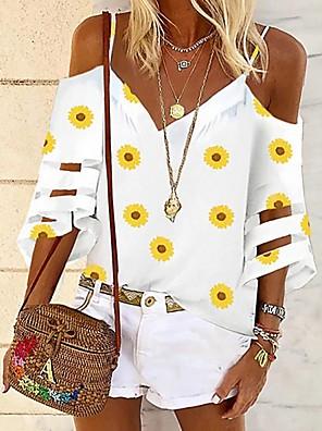 cheap Women's Blouses & Shirts-Women's Blouse Floral V Neck Tops Basic Top White Black Blue