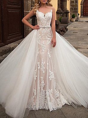 cheap Prom Dresses-Mermaid / Trumpet Wedding Dresses Jewel Neck Sweep / Brush Train Detachable Lace Tulle Chiffon Over Satin Sleeveless Formal Sexy See-Through with Sashes / Ribbons Embroidery 2020
