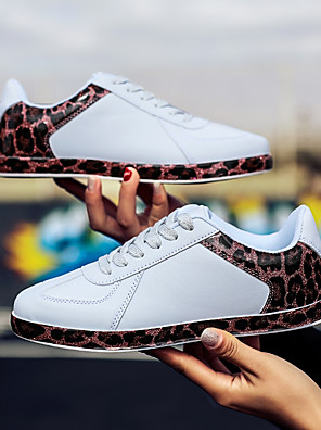 cheap Plus Size Dresses-Women's Sneakers 2020 Summer / Fall Flat Heel Round Toe Casual Sweet Daily Outdoor Leopard PU White / Black
