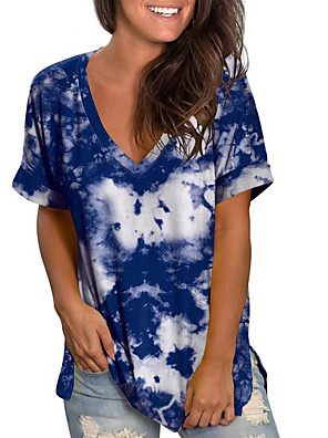 cheap Women's T-shirts-Women's T-shirt Tie Dye Printing V Neck Tops Loose Basic Top Blue Purple Red