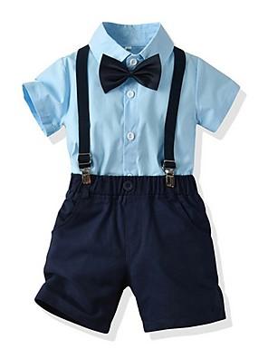 cheap Boys' Clothing Sets-Kids Boys' Basic Color Block Short Sleeve Clothing Set Blue