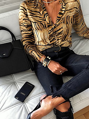 cheap Women's Blouses & Shirts-Women's Shirt Geometric Tops V Neck Gold / Long Sleeve