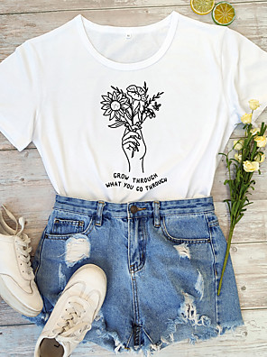 cheap Women's T-shirts-Women's T-shirt Graphic Prints Letter Print Round Neck Tops 100% Cotton Basic Summer All Seasons Wine White Black
