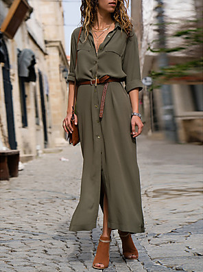 cheap Maxi Dresses-Women's Shirt Dress Maxi long Dress - 3/4 Length Sleeve Solid Color Summer Fall Formal Work 2020 Wine Black Army Green Navy Blue S M L XL