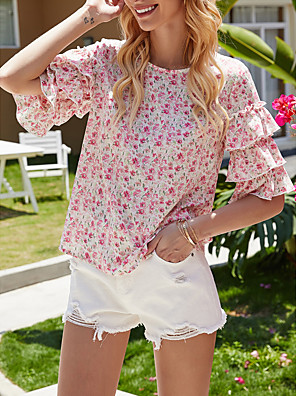 cheap For Young Women-Women's Blouse Floral Ruffle Print Round Neck Tops Elegant Hawaiian Summer Fall Blushing Pink / Going out