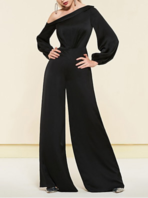 cheap Evening Dresses-Jumpsuits Elegant Minimalist Wedding Guest Formal Evening Dress One Shoulder Long Sleeve Floor Length Satin with Sleek 2020