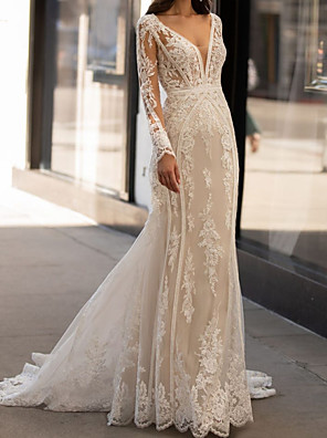 cheap Wedding Dresses-Mermaid / Trumpet Wedding Dresses V Neck Sweep / Brush Train Tulle Long Sleeve Vintage Sexy Illusion Sleeve with Appliques 2020