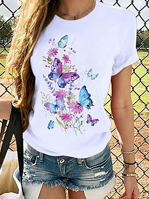 cheap Women's T-shirts-Women's T-shirt Butterfly Graphic Prints Round Neck Tops Loose 100% Cotton Basic Top White Black Blue