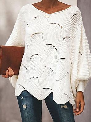 cheap Women's Blouses & Shirts-Women's Solid Colored Pullover Long Sleeve Plus Size Lantern Sleeve Loose Oversized Sweater Cardigans Scoop Neck Spring Fall White Black Blue