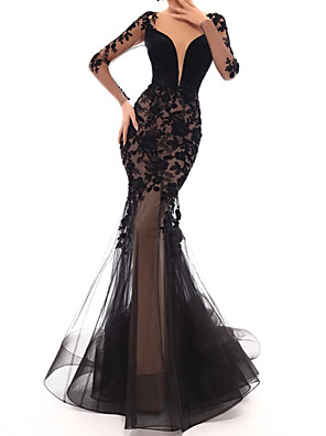 cheap Evening Dresses-Mermaid / Trumpet Floral Sexy Engagement Formal Evening Dress V Neck Long Sleeve Sweep / Brush Train Tulle with Appliques 2020 / Illusion Sleeve