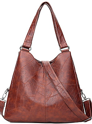 cheap Women's Pants-Women's Bags PU Leather Top Handle Bag Zipper for Daily Black / Brown