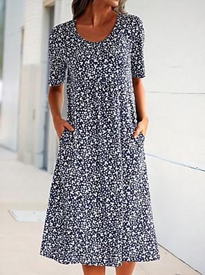 cheap Print Dresses-Women's A-Line Dress Midi Dress - Short Sleeves Floral Summer Casual 2020 Blue Yellow Orange S M L XL XXL XXXL XXXXL XXXXXL