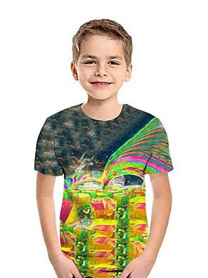 cheap Boys' Tops-Kids Boys' Street chic 3D Short Sleeve Tee Yellow