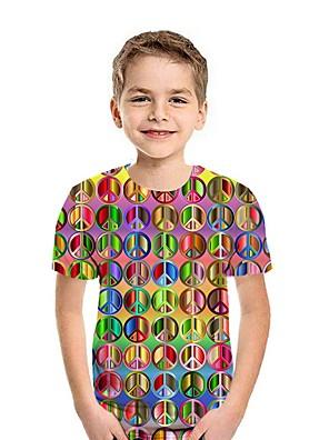 cheap Boys' Tops-Kids Boys' Street chic Rainbow Short Sleeve Tee Black