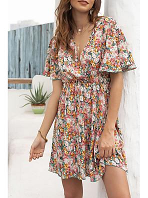 Χαμηλού Κόστους Για νεαρές γυναίκες-Γυναικεία Φόρεμα σε γραμμή Α Φόρεμα μέχρι το γόνατο - Κοντομάνικο Φλοράλ Καλοκαίρι Καθημερινό 2020 Ρουμπίνι Τ M L XL