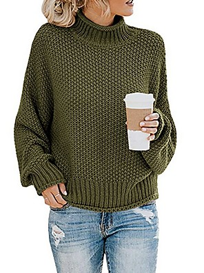 cheap Sexy Bodies-Women's Color Block Pullover Long Sleeve Sweater Cardigans Turtleneck Wine Black Blue