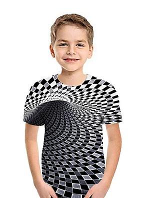 cheap Boys' Tops-Kids Boys' Street chic Geometric Short Sleeve Tee Red